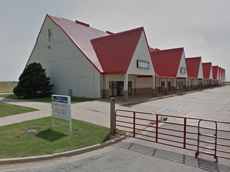 A gay man alleges that he was pinned down while people prayed over him at the First Assembly of God church in Blackwell, Oklahoma (pictured): Google Maps
