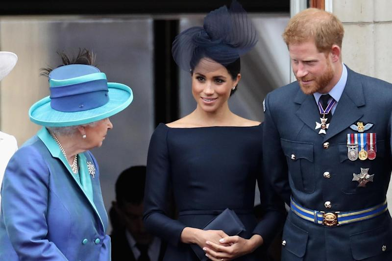 Meghan, Harry and the Queen during the RAF flypast in July 2018 (Getty Images)