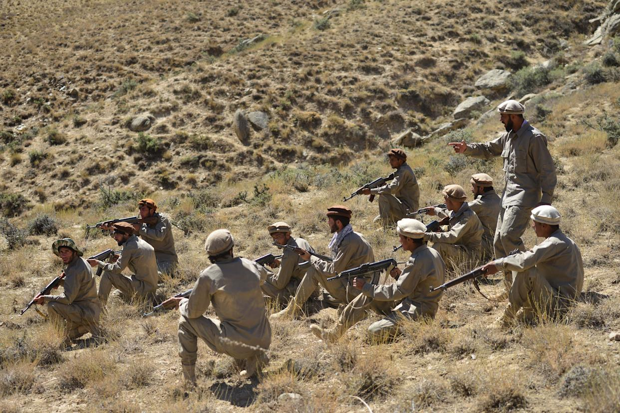Afghan resistance movement and anti-Taliban uprising forces take part in a military training at Malimah area of Dara district in Panjshir province on September 2, 2021 as the valley remains the last major holdout of anti-Taliban forces. (Photo by Ahmad SAHEL ARMAN / AFP) (Photo by AHMAD SAHEL ARMAN/AFP via Getty Images)