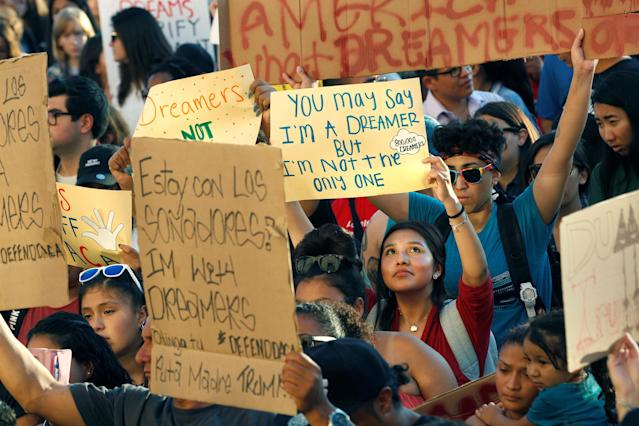 <p>Alliance San Diego and other Pro-DACA supporters hold a protest rally, following President Donald Trump's DACA announcement, in front of San Diego County Administration Center in San Diego, Calif., Sept. 5, 2017. (Photo: John Gastaldo/Reuters) </p>