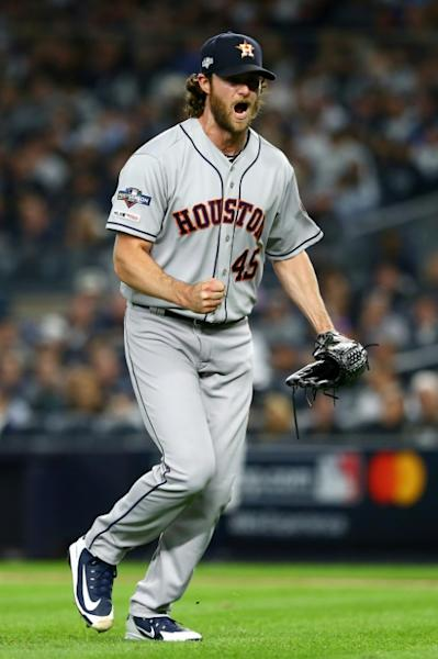 Houston's Gerrit Cole led Major League Baseball in strikeouts this season as figures to be a crucial pitcher for the Astros in the 115th World Series (AFP Photo/Mike Stobe)