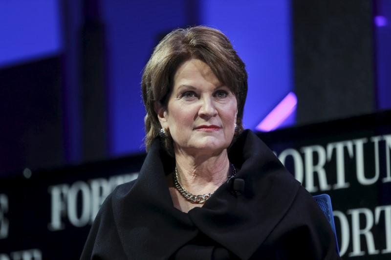 Marillyn Hewson, Chairman, President and CEO of Lockheed Martin, participates in a panel discussion at the 2015 Fortune Global Forum in San Francisco