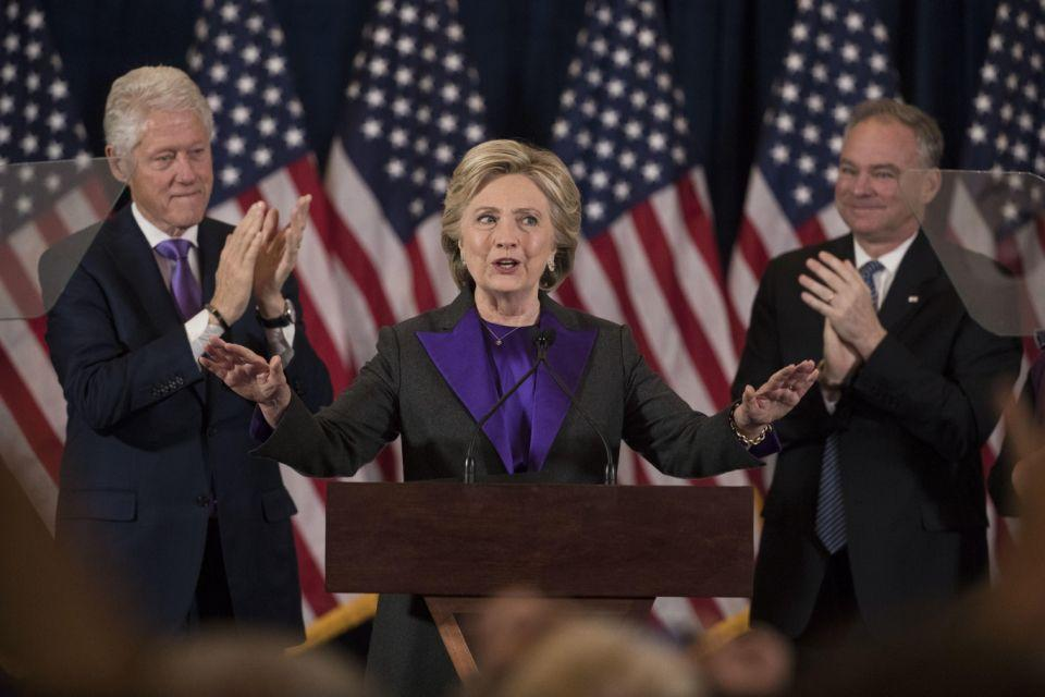 Hillary Clinton conceding Donald Trump's election victory. Photo: AAP