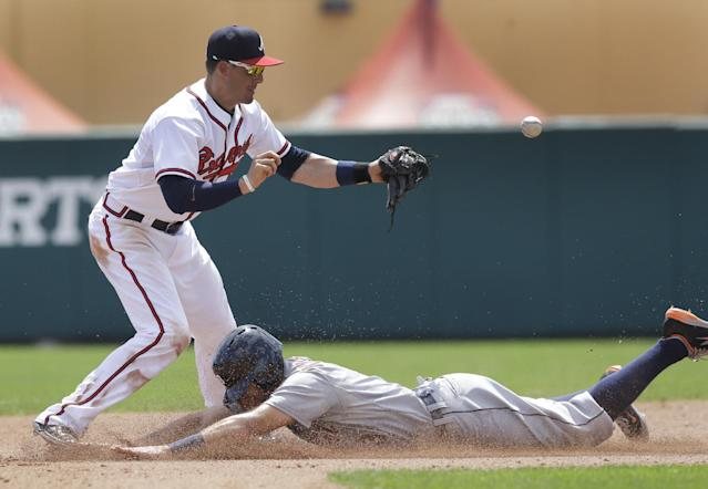 Detroit Tigers' Ian Kinsler steals second as the ball pops out of Atlanta Braves shortstop Tyler Greene's glove during the fourth inning of a spring exhibition baseball game in Kissimmee, Fla., Friday, March 21, 2014. (AP Photo/Carlos Osorio)