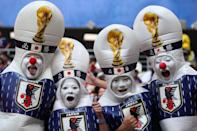<p>Japan fans show their support prior to the 2018 FIFA World Cup Russia group H match between Colombia and Japan at Mordovia Arena on June 19, 2018 in Saransk, Russia. (Photo by Matthew Ashton – AMA/Getty Images) </p>