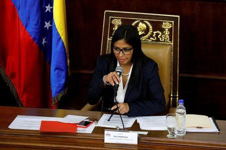 FILE PHOTO: National Constituent Assembly President Delcy Rodriguez attends to one of its session in Caracas, Venezuela August 8, 2017. REUTERS/Carlos Garcia Rawlins/File Photo