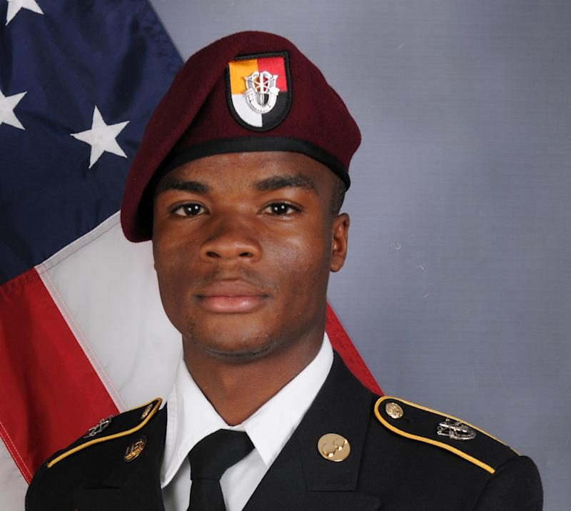 U.S. Army Sgt. La David Johnson, who was among four special forcesservice members killed in Niger, West Africa, on Oct. 4, poses in a handout photo.