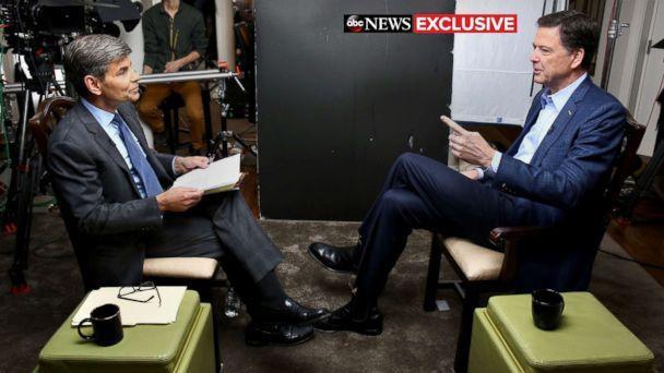 PHOTO: ABC News Chief Anchor George Stephanopoulos sits down with former FBI director James Comey for an exclusive interview that will air during a primetime '20/20' special on Sunday, April 15, 2018 on the ABC Television Network. (Ralph Alswang/ABC News)