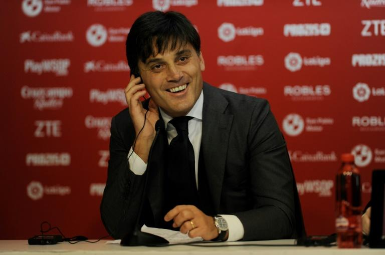 Sevilla's new Italian coach Vincenzo Montella holds a press conference during his official presentation as the Spanish club's coach December 30, 2017
