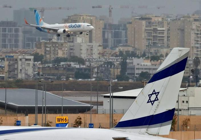 A flydubai jet lands at Israel's Ben Gurion Airport on the first scheduled commercial service following the normalisation of ties between the UAE and Israel