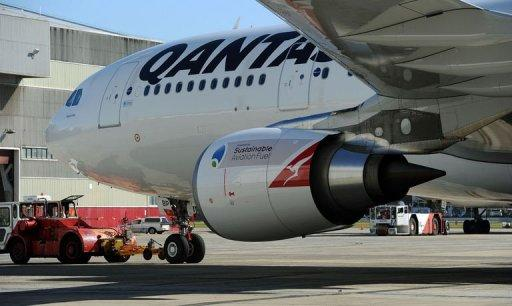A Qantas A330 moves to a departure gate to pick up invited passengers at Sydney Airport ahead of Australia's first flight powered by sustainable aviation fuel on April 13, 2012