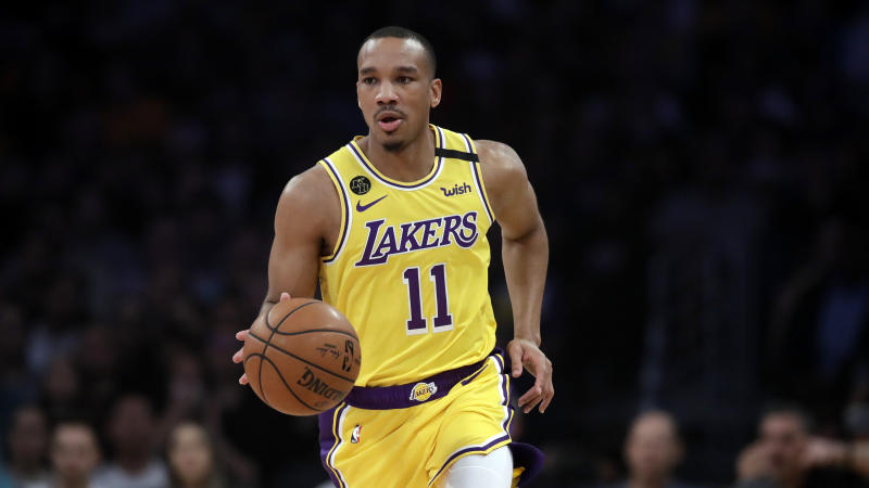 Los Angeles Lakers' Avery Bradley (11) during the first half of an NBA basketball gameagainst the New Orleans Pelicans Tuesday, Feb. 25, 2020, in Los Angeles. (AP Photo/Marcio Jose Sanchez)