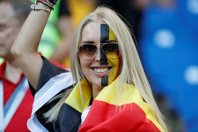 <p>Belgium fan inside the stadium before the match REUTERS/Toru Hanai </p>