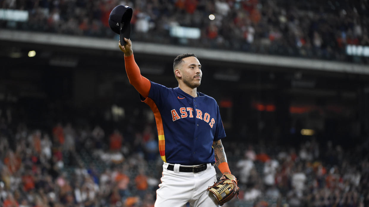 Houston Astros' Carlos Correa and his teammates knocked off the White Sox in the ALDS. (AP Photo/Eric Christian Smith)