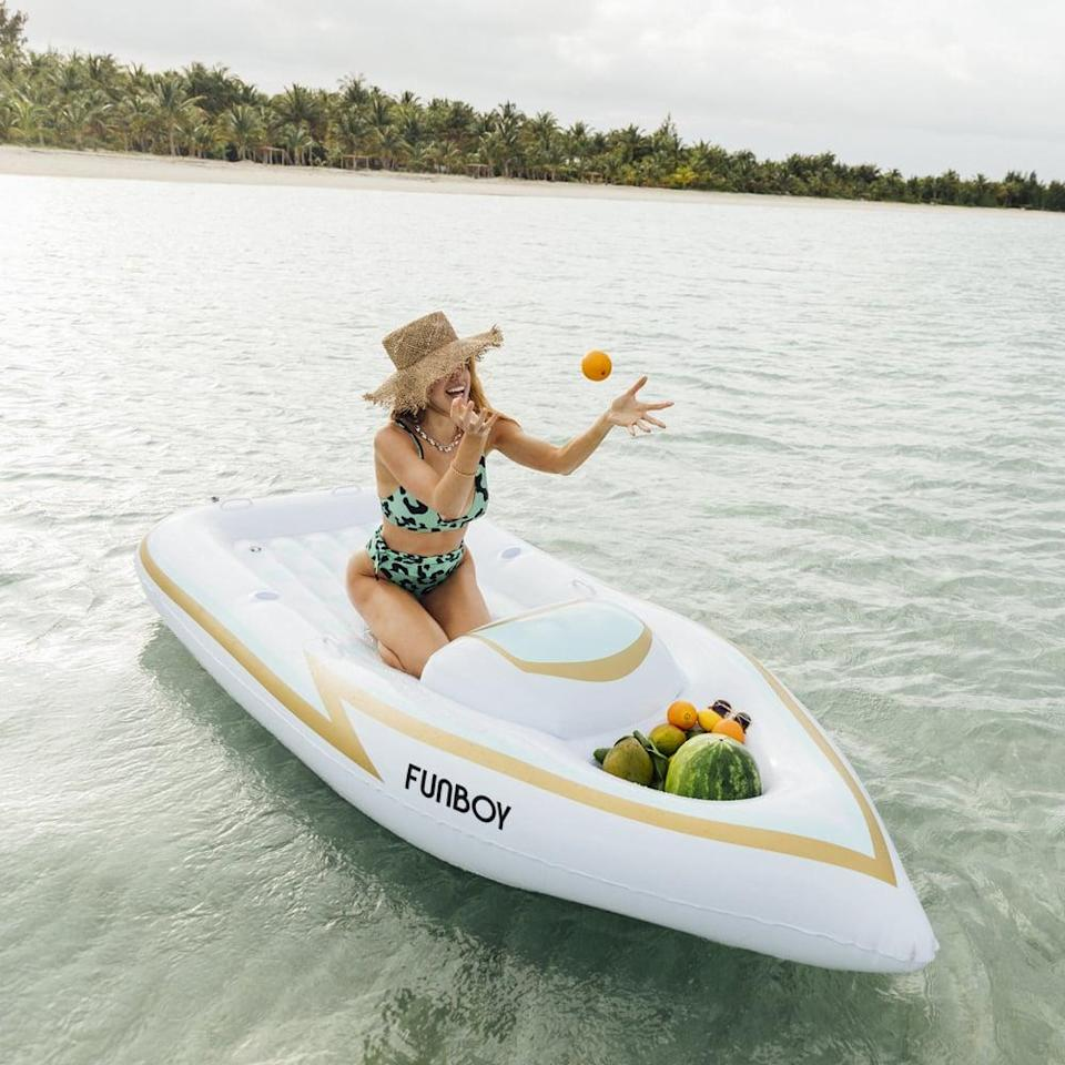 <p>Featuring a daybed for two and a cooler, the <span>Funboy Yacht Pool Float</span> ($116) is the ultimate luxurious experience.</p>