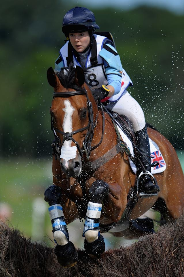 AACHEN, GERMANY - JULY 07:  Emily Baldwin of Great Britain and her horse Drivetime compete in the DHL Price Cross Country Test during day five of the 2012 CHIO Aachen tournament on July 7, 2012 in Aachen, Germany.  (Photo by Dennis Grombkowski/Bongarts/Getty Images)