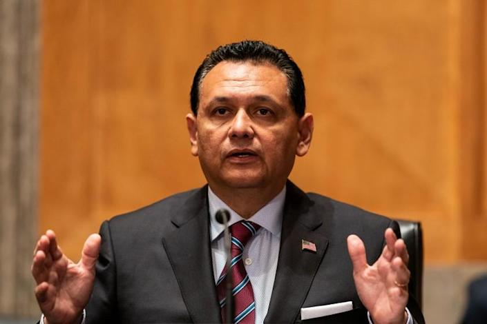WASHINGTON, DC - JULY 15: Ed Gonzalez, nominee to be an Assistant Secretary of Homeland Security, speaks during a Homeland Security and Governmental Affairs hearing in the Senate Office Building on Thursday, July 15, 2021. (Kent Nishimura / Los Angeles Times)