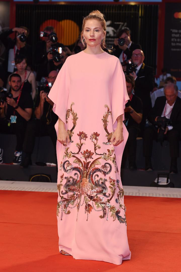 The actress stole our hearts in a pretty pink Gucci number complete with Bulgari jewels and a bold lip. <em>[Photo: Getty]</em>