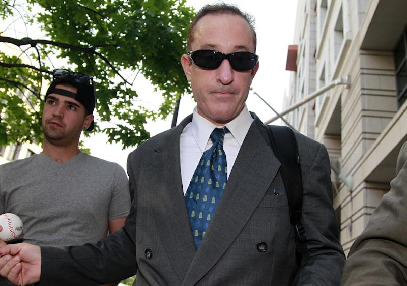 Former Major League baseball pitcher Roger Clemens' former trainer Brian McNamee leaves federal court in Washington, Thursday, May 17, 2012, after testifying in Clemens perjury trial. (AP Photo/Haraz N. Ghanbari)