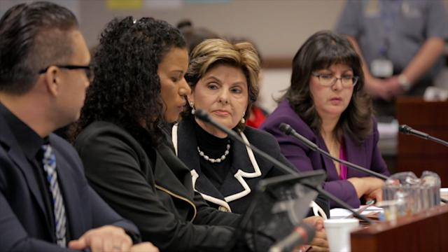 "Gloria Allred at one of her press conferences in ""Seeing Allred."""