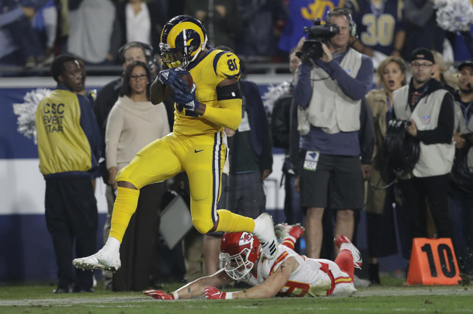 Gerald Everett scored the winning touchdown, a 40-yard catch in the Rams' 54-51 victory against the Chiefs. (AP)