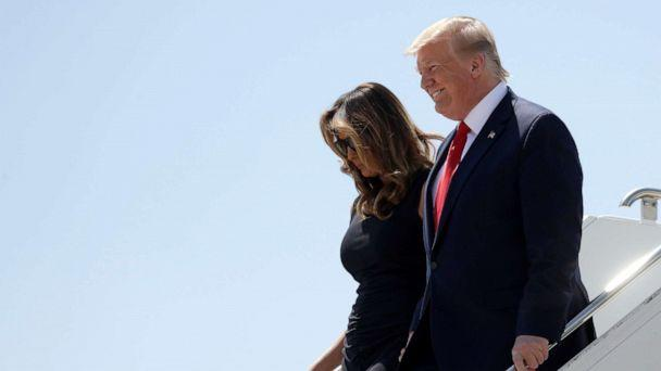 PHOTO: President Donald Trump and first lady Melania Trump arrive at El Paso International Airport to meet with people affected by the El Paso mass shooting, Aug. 7, 2019, in El Paso, Texas. (Evan Vucci/AP)