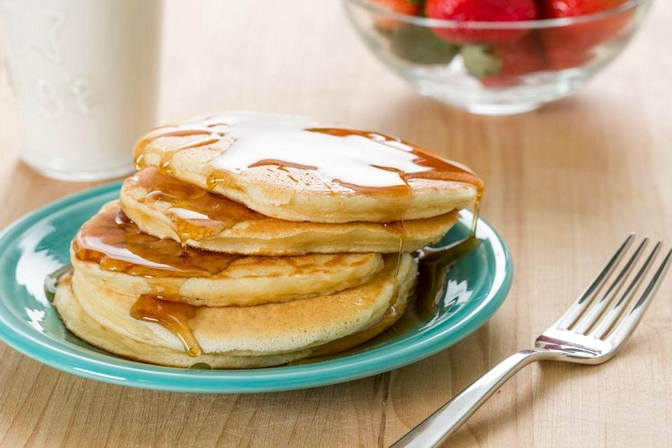 "<p>These are pancakes with protein in them. Enough said.</p><p>Get the recipe from <a href=""https://www.delish.com/cooking/recipe-ideas/recipes/a45500/greek-yogurt-pancakes-recipe/"" rel=""nofollow noopener"" target=""_blank"" data-ylk=""slk:Delish"" class=""link rapid-noclick-resp"">Delish</a>. </p>"