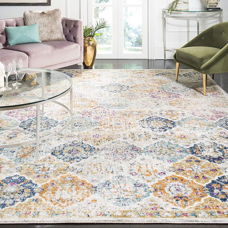 """<a href=""""https://www.amazon.com/Safavieh-Collection-Bohemian-Distressed-Multicolored/dp/B01M03MY5W/"""" rel=""""nofollow noopener"""" target=""""_blank"""" data-ylk=""""slk:Safavieh Multicolored Distressed Area Rug"""" class=""""link rapid-noclick-resp""""><h3>Safavieh Multicolored Distressed Area Rug<br></h3></a><br>If you want an impressive designer feel at a comfortable price point, look no further. This patterned option features a bold motif in a stunning array of distressed hues.<br><br><strong>Safavieh</strong> Multicolored Bohemian Chic Distressed Area Rug, $, available at <a href=""""https://www.amazon.com/Safavieh-Collection-Bohemian-Distressed-Multicolored/dp/B01M03MY5W/"""" rel=""""nofollow noopener"""" target=""""_blank"""" data-ylk=""""slk:Amazon"""" class=""""link rapid-noclick-resp"""">Amazon</a>"""