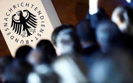 The logo of the German Federal Intelligence Agency (BND) is pictured at the 60th anniversary of the founding of the BND in Berlin