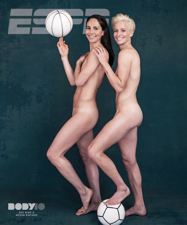<p>Athletes Megan Rapinoe and Sue Bird are the first same-sex couple to appear on the cover of ESPN's body issue.<br />(PHOTO: ESPN THE MAGAZINE / PHOTO BY ERIC LUTZENS) </p>
