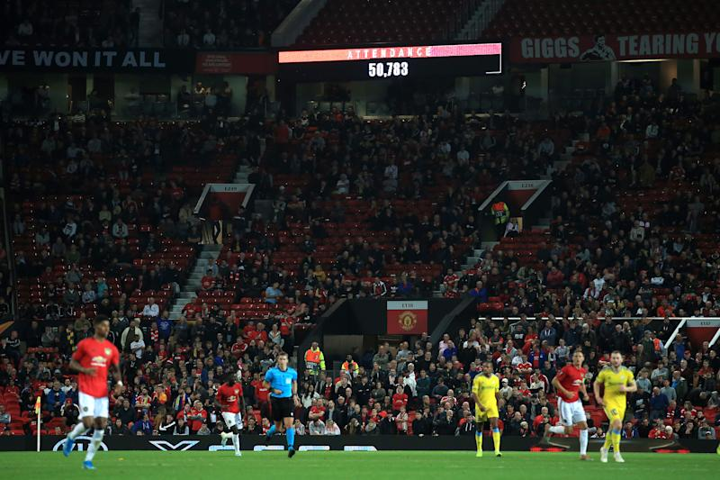 MANCHESTER, ENGLAND - SEPTEMBER 19: The scoreboard displays the 50,783 attendance during the UEFA Europa League group L match between Manchester United and FK Astana at Old Trafford on September 19, 2019 in Manchester, United Kingdom. (Photo by Simon Stacpoole/Offside/Offside via Getty Images)