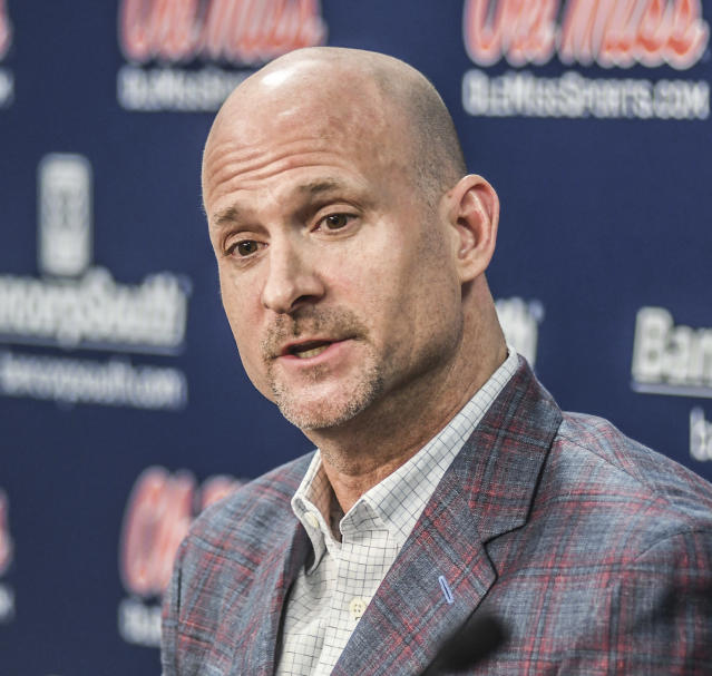 Mississippi head coach Andy Kennedy speaks at a press conference at the Pavilion at Ole Miss in Oxford, Miss. on Monday, Feb. 12, 2018. Kennedy, in his 12th season as Mississippi head coach, announced he would not return as coach following this season.(Bruce Newman/Oxford Eagle via AP)
