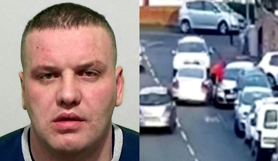 David Clark, 36, and his gang deliberately tried to run over a man in Sunderland. (SWNS)