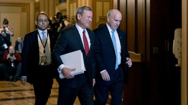 PHOTO: Chief Justice of the United States John Roberts arrives at the Senate to preside at the impeachment trial of President Donald Trump on charges of abuse of power and obstruction of Congress, at the Capitol, Jan. 16, 2020. (J. Scott Applewhite/AP)