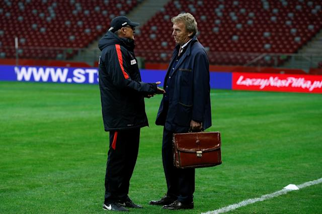 Soccer Football - Poland national soccer team training - National Stadium, Warsaw, Poland - November 9, 2017. Poland's head coach Adam Nawalka and Zbigniew Boniek, head of Polish Football Association, during practice session. REUTERS/Kacper Pempel