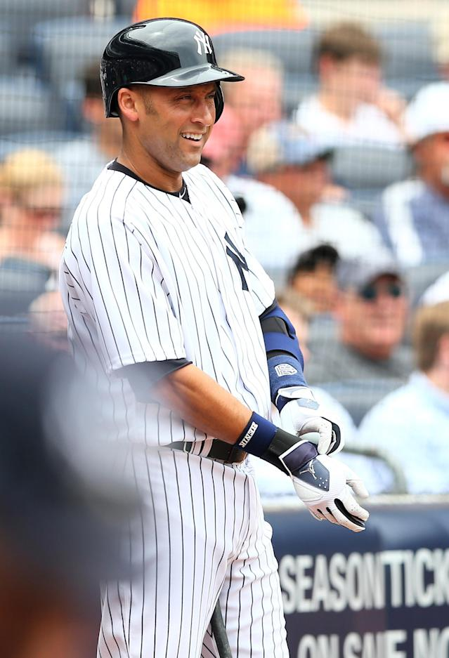 NEW YORK, NY - JULY 11: Derek Jeter #2 of the New York Yankees stands in the on deck circle in the first inning against the Kansas City Royals on July11,2013 at Yankee Stadium in the Bronx borough of New York City. (Photo by Elsa/Getty Images)