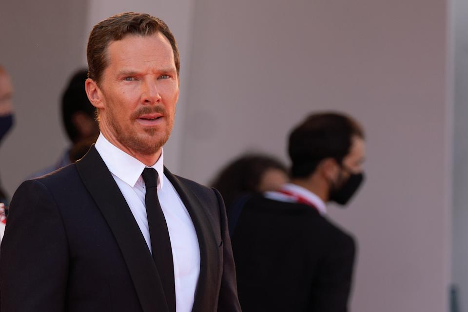 """Benedict Cumberbatch attends the red carpet of the movie """"The Power Of The Dog"""" during the 78th Venice International Film Festival on September 02, 2021 in Venice, Italy (Photo by Luca Carlino/NurPhoto via Getty Images)"""