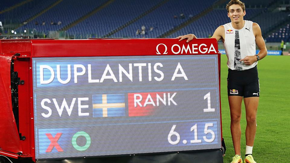 Armand Duplantis, pictured here with his new outdoor pole vault world record.