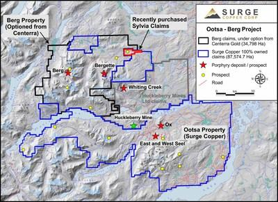 Figure 1. Ootsa-Berg regional claim map showing newly acquired Sylvia claims. (CNW Group/Surge Copper Corp.)