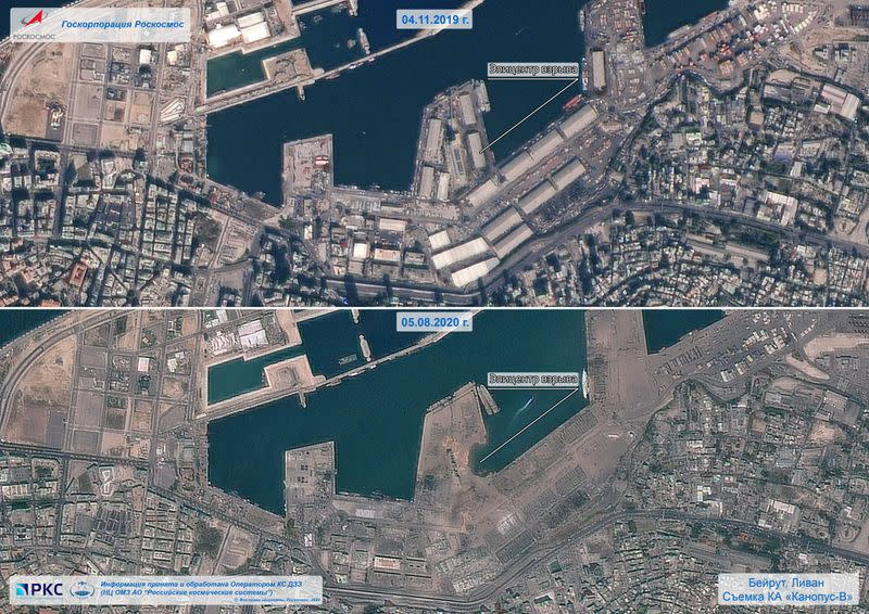 A combination of satellite images shows the area before and after a massive explosion in Beirut