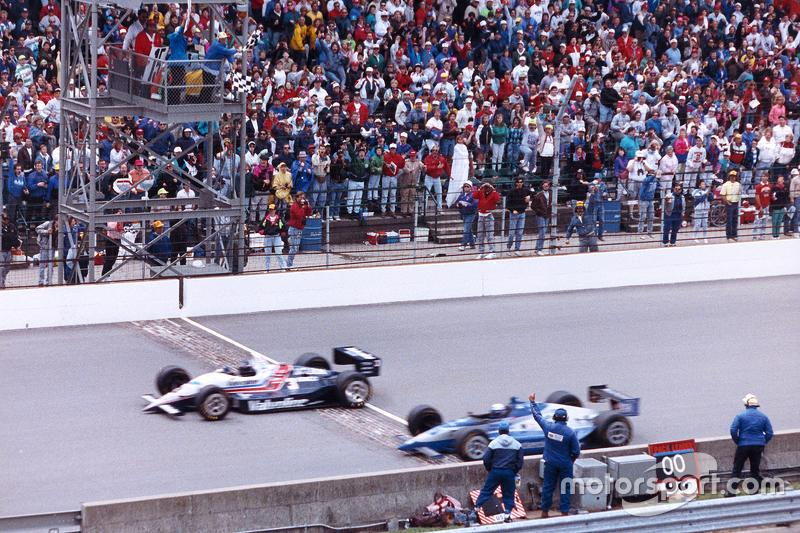 """Al Unser Jr. beats Scott Goodyear to the finish by 0.043sec in 1992. <span class=""""copyright"""">Indianapolis Motor Speedway</span>"""