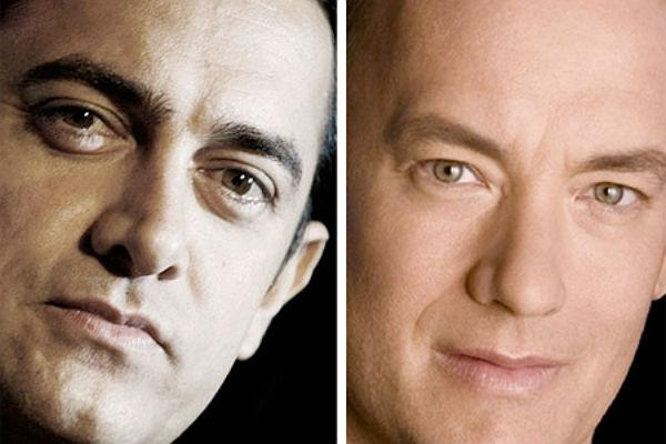 <b>Aamir Khan & Tom Hanks: </b><br>Aamir Khan is known to act, direct and produce his own movies and is called a perfectionist for a reason. Tom Hanks having the same traits is the perfect embodiment of Aamir in the west. But add to this the uncanny resemblance that they bear to each other and you've got nothing short of utter amazement.