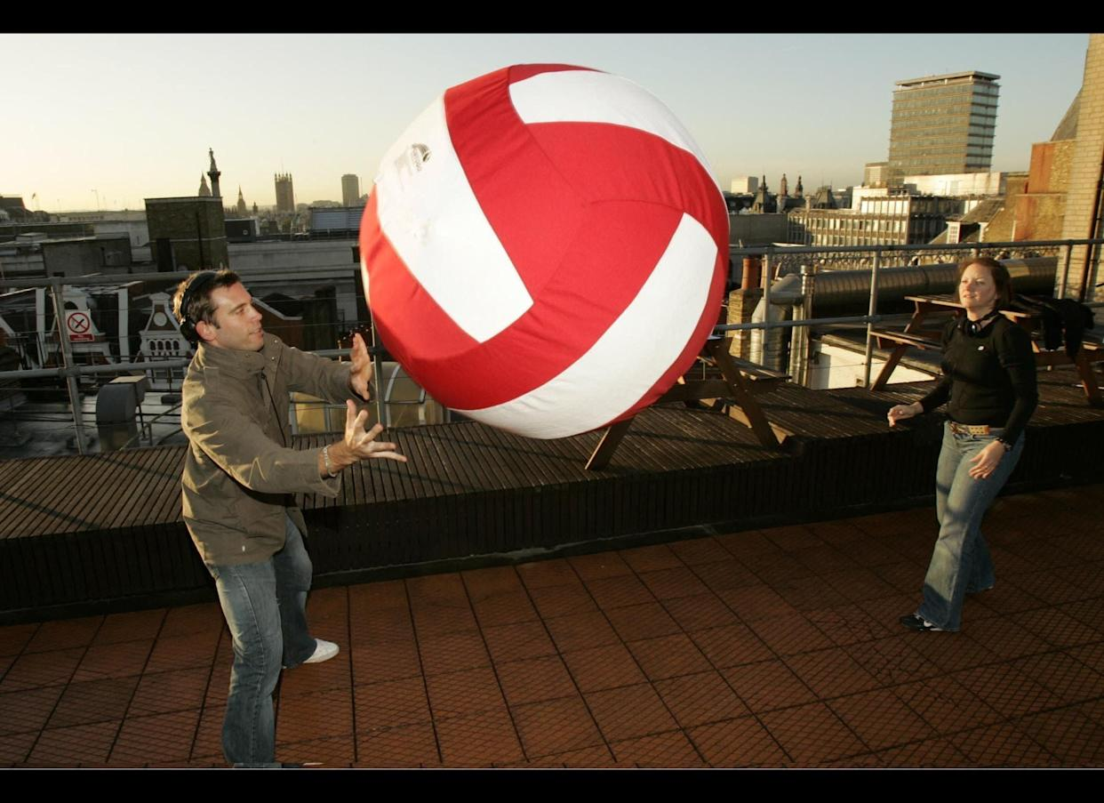 The most consecutive passes of a giant volleyball is 582 and was set by Vanessa Sheridan and Paddy Bunce (both from the United Kingdom) during Capital Breakfast with Johnny Vaughan, Capital Radio, London, UK on November 9, 2006 as part of Guinness World Records Day.