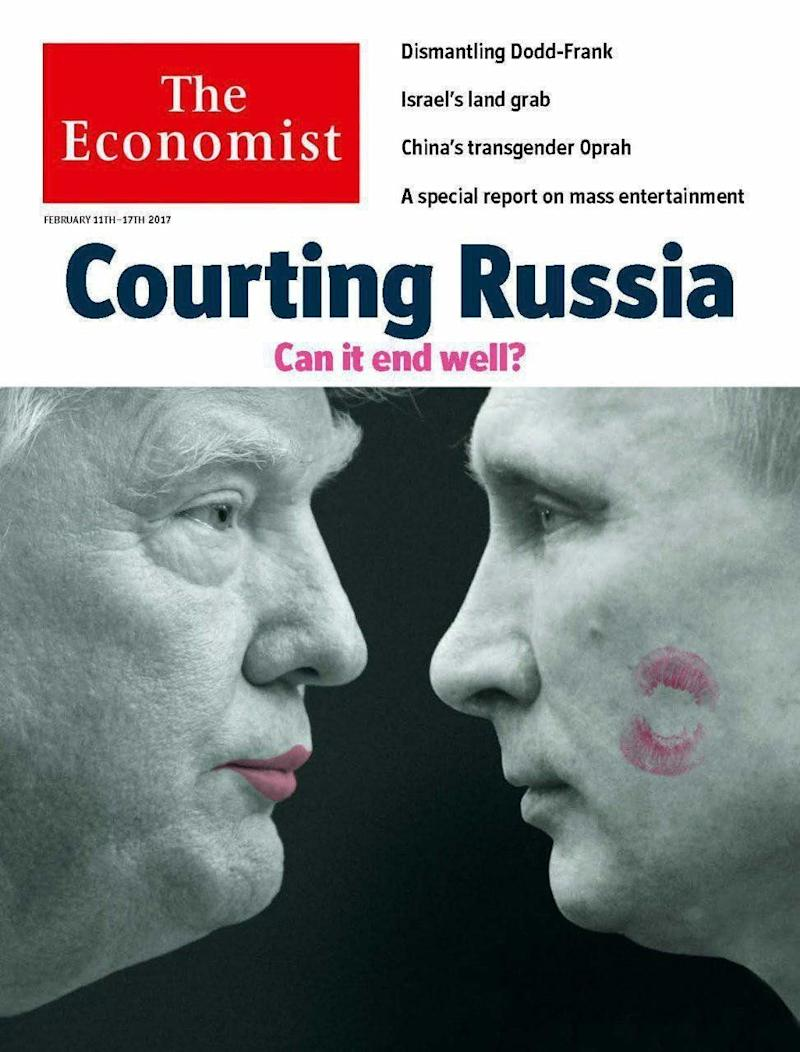 A lipstick-wearing Donald Trump puckers up to Vladimir Putin on the cover of The Economist. (Photo: The Economist)