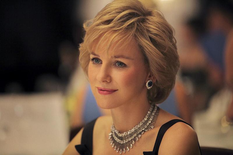 Undated handout photo issued by Ecosse Films of the first official image of Naomi Watts as Diana, Princess of Wales since filming began this week on the movie Diana.