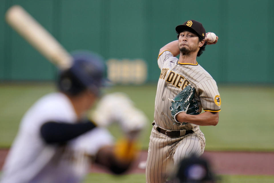 San Diego Padres starting pitcher Yu Darvish delivers during the first inning of a baseball game against the Pittsburgh Pirates in Pittsburgh, Monday, April 12, 2021. (AP Photo/Gene J. Puskar)