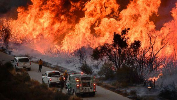 PHOTO: U.S. forest fire crews fight fire with fire as they set off huge backfires to cut off the northern flank of the Thomas fire near Rose Valley recreation area in Los Padres National Forest in California, Dec. 9, 2017. (Gene Blevins/Polaris)