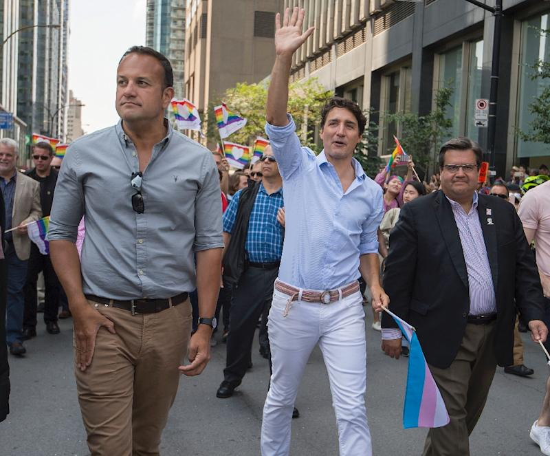 Canadian Prime Minister Justin Trudeau, seen here with Irish Prime Minister Leo Varadkar,  attending the Pride parade in Montreal in August 2017