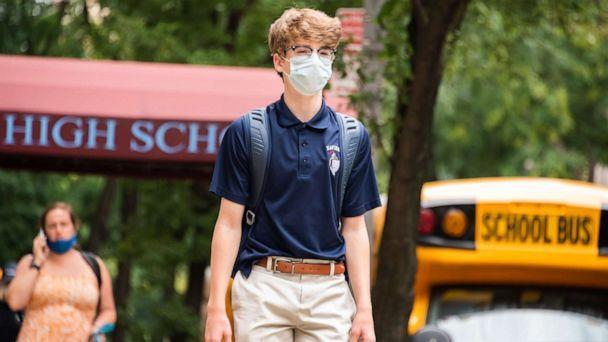 PHOTO: In this Sept. 29, 2020, file photo, a student wears a face mask outside Xavier High School as the city continues Phase 4 of re-opening following restrictions imposed to slow the spread of COVID-19 in New York. (Noam Galai/Getty Images, FILE)