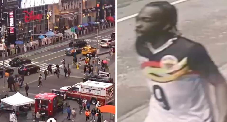 Times Square and suspect pictured.